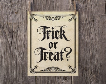 8x10 Halloween Sign, Halloween Printables, Printable Halloween Decorations, Trick or Treat Haunted House Sign, Halloween Party Sign Print