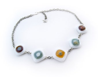 Multicolored fused glass necklace