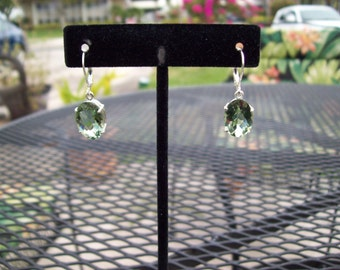 PERFECT SIZE - Genuine Medium Green Amethyst (prasiolite) Earrings in 925 Sterling Silver 14x10mm