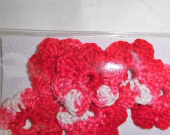 6 crochet flowers, flowers, crochet, cotton flower, red, pink