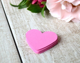 peony pink heart die cuts, pink heart confetti, wedding heart confetti, wedding shower confetti- 30 pieces