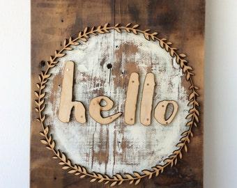 Hello Boxwood Barn Wood Wall Sign