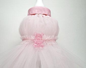 Pink Baby Bottle Shower Centerpiece, TuTu Baby Bottle Shower Centerpiece, Baby Bottle Bank, Tutu Baby Gift