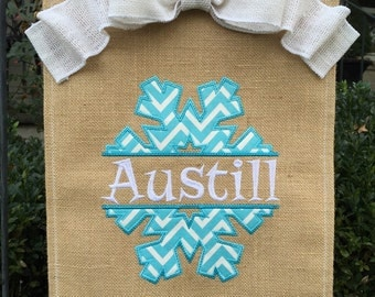 Monogrammed Snowflake Burlap Garden Flag  Personalized with Name
