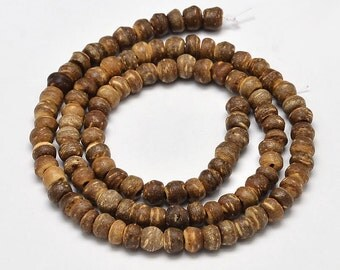 "Natural Coconut Abacus Bead Strands, Dark Goldenrod, 5~8 x 5~7mm, Hole: 2mm; about 108pcs/strand, 15""    114"