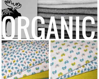 Organic Cloth Baby Wipes - Reusable Cloth Diaper Wipes - Set if 12 Wipes -Elephants/Leaves/Teal Dots/Green Dots