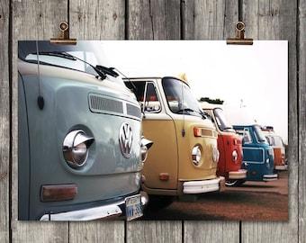 Vintage Volkswagen - Vintage VW Buses - Fredricksburg, TX - Fine Art Print - Canvas Gallery Wrap - Metal Print