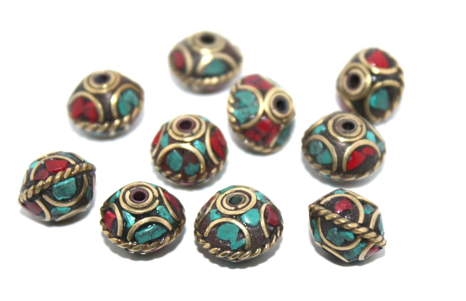 tibetan nepalese coral turquoise 10 nepalese