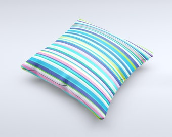 The Vibrant Colored Stripes Pattern V3 ink-Fuzed Decorative Throw Pillow