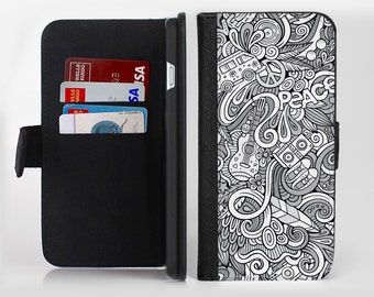 The Hippie Dippie Doodles lnk-Fuzed Leather Folding Wallet Case For the Apple iPhone and Samsung Galaxy Devices