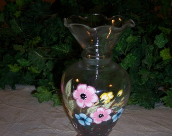 Hand Painted Glass Vase Floral Design