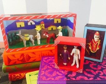 "Vintage ""Dia De Los Muertos"" Nicho Dioramas in Choice of Skeleton Firefighter, Married Couple, or Farmers."