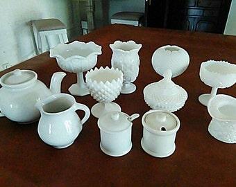 White Vintage Hobnail Milkglass