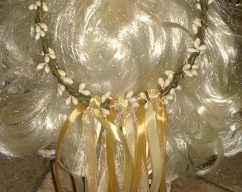 Handmade Cream Hair Accessory/Berry Woodland Crown/Hair Circlet Ribbon Crown