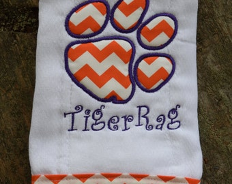 "Burp Cloth ""My First Tiger Rag"" Embroidery with Clemson Tiger Paw Applique"