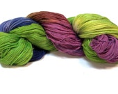 The Spirit--Baby Alpaca/Silk/Cashmere 3 ply light fingering--Rolling Through the Pansies