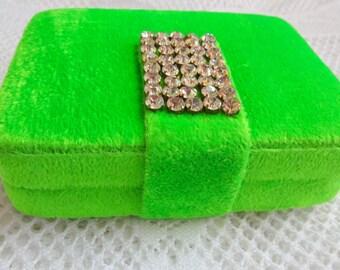 Trendy  Neon Clutch Purse, Handmade Velvet Fabric Box Clutch with Rhinestones