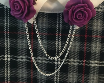 Purple Rose Collar Clips