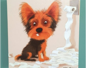 Canvas Print Naughty Yorkshire Terrier Dog Illustration Art
