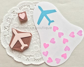 Airplane and Heart Stamp - Valentines Day Stamp - Wedding Stamp - Getting Married - Travel Stamp - hand carved stamp - rubber stamp