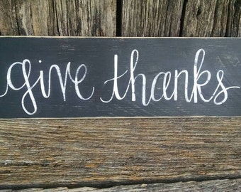 Give Thanks hand-painted wooden sign