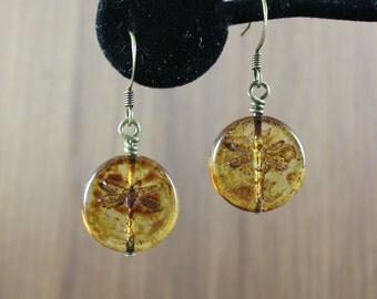 Dragonfly in Amber glass bead earrings ~ Outlander inspired