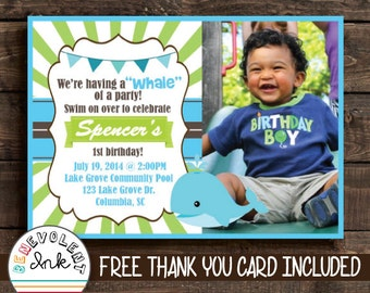 Whale Birthday Invitation - First Birthday Party Invitation - Printable Invitation - Whale Theme Birthday - 1st Birthday - Photo Invitation