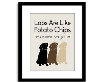 CUSTOMIZABLE Dogs Are Like Potato Chips  - Dog Sign - Funny Dog Art -  Dog Wall Decor - Dog Poster - Labrador Sign - Customizable Dog Sign