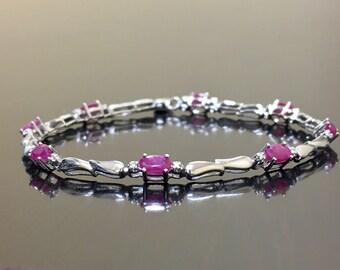 Diamond Ruby Bracelet - Sterling Silver Ruby Diamond Bracelet - Ruby Link Bracelet - Diamond Silver Ruby Bracelet - Ruby Silver Bracelet