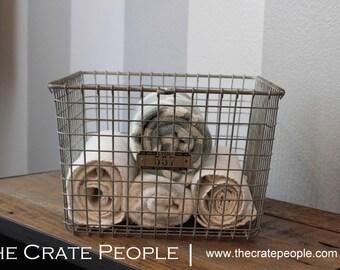 FREE SHIPPING -- Vintage Wire Baskets with Metal Number Tag | Vintage Industrial Locker Baskets – LYON Baskets, Kasper Baskets