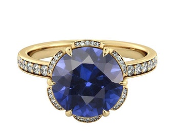 14K Yellow Gold 2.50 ctw Blue Sapphire Engagement Ring with Diamonds Flower Vintage Halo