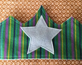 Children's Felt Crown, Green Stripes with Light Blue Star