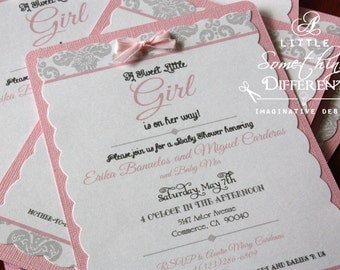 Pink and Gray Damask Print Babyshower Invitation / Pink and Grey Shower Invitation / It's a Girl Shower Invitation / Damask Invitation