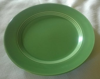 "Vintage c.1950s Homer-Laughlin Harlequin Green Sandwich Plate 7 1/2"""