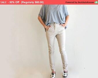 Final SALE ! Cream Long String Skinny Pants, Cotton Pencil Pants, Women Trousers, Drop Crotch Pants