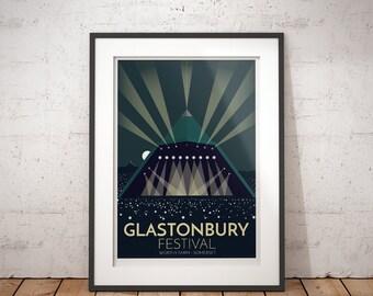 Glastonbury Festival, Worthy Farm, Somerset, England, UK - signed travel poster print