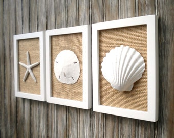 Cottage Chic Set of Beach Decor Wall Art, Sea Shell Home Decor, Beach House Wall Decor, Wall Art, Coastal Decor, Coastal Art, White & Burlap