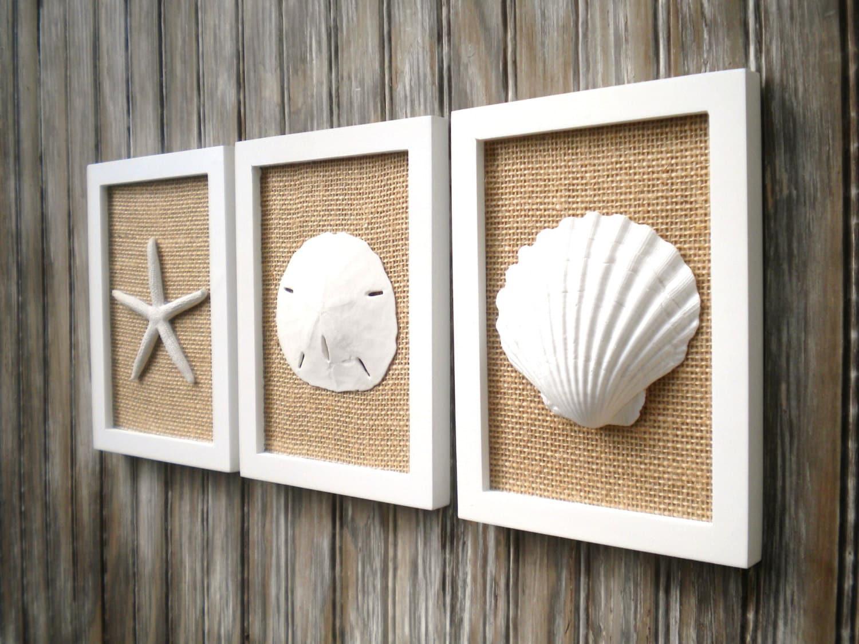 cottage chic set of beach decor wall art sea shell home decor beach house - Coastal Decor