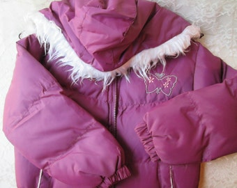 Girls Coat Girls Jacket Hooded Purple Vintage Sz 8 New Childs Winter Padded Ski Puffy Removable Fur Lined Hood Satin Lining Unused Outerwear