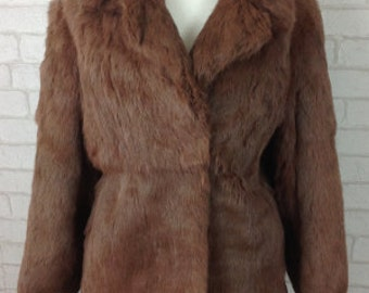 1950's Regency of Swansea Chocolate Brown Real Coney Fur Short Coat Size Small