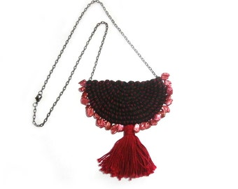 Pearl Bib Necklace, Red Pearl Necklace, Crescent Pendant, Red Tassel Necklace