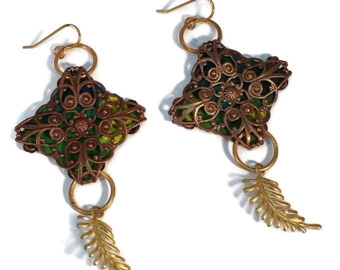 Hand Painted Green Leaf Filigree Dangle Drop Earrings, Nickle Free Brass Ear Wires, OOAK, One of a kind