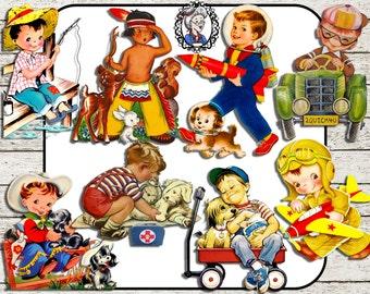 Digital Clipart: Little Boys, Vintage Ephemera Boys, Cowboy / Fishing / Dogs / Pilot / Car / Indian, Scrapbooking / Card making - 8 PNG CU