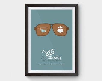 "THE BIG LEBOWSKI - A3 (12x16"") movie, film poster, minimalist movie poster, coen brothers, the dude abides, big lebowski art, bowling"