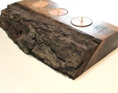 Rustic home decor.  Reclaimed wooden slab tealight candle holder.  Unique home decor, cottage decor, cabin decor, outdoor lighting.