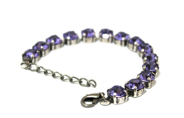 Tanzanite Antique Silver Tennis Bracelet Made With Preciosa