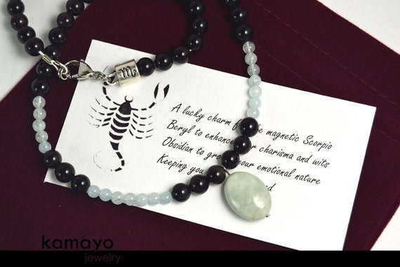 SCORPIO NECKLACE - Translucent Aquamarine Pendant and Black Obsidian Beads
