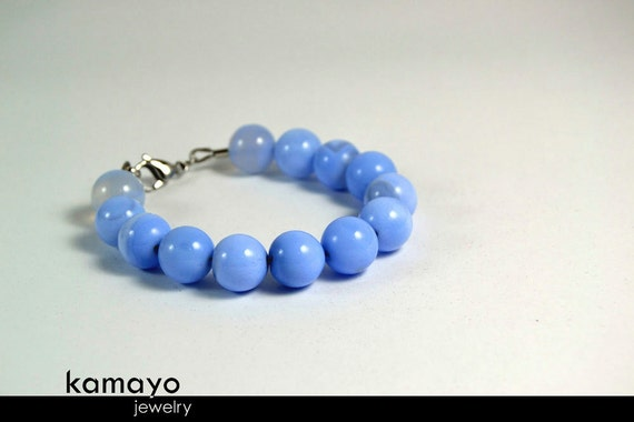 """BLUE CHALCEDONY BRACELET - Large Round Blue Chalcedony Beads - 7.5 Inches - Fits Wrist of Up to 5.9"""""""