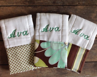 Personalized Monogrammed Custom Burp Cloth Set of 3 -Amy Butler Fabric