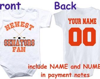 Ottawa senators baby etsy baby bodysuit newest fan senators customized personalized name number one piece bodysuit funny baby child boy negle Gallery
